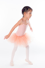 A little ballerina in the studio. On White Background