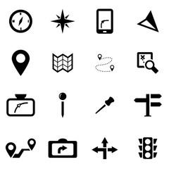 Vector black navigation icon set
