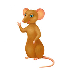 Cute brown mouse character waving. Cartoon rat isolated on white