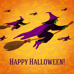 Happy halloween greeting card with horde of witches flying on