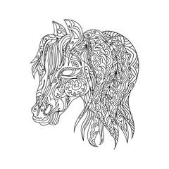 Horse head zentangle