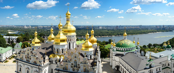 Keuken foto achterwand Kiev Panorama of Assumption Church/Panorama of Assumption Church, Lavra and on background of blue sky, clouds and Dnieper river, Kiev, Ukraine