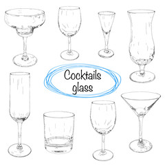 Set of hand drawn cocktail glass. Sketch vector illustration. Collection of different glass glasses for different drinks.