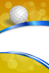 Background abstract volleyball blue yellow white ball ribbon vertical frame illustration vector