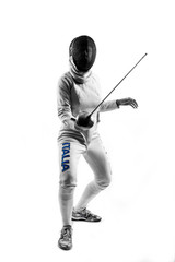 Woman Fencer on white background