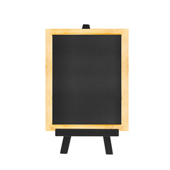 Menu Blackboard on black easel isolated on white background