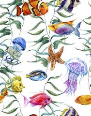 Watercolor sea life seamless pattern, underwater watercolor
