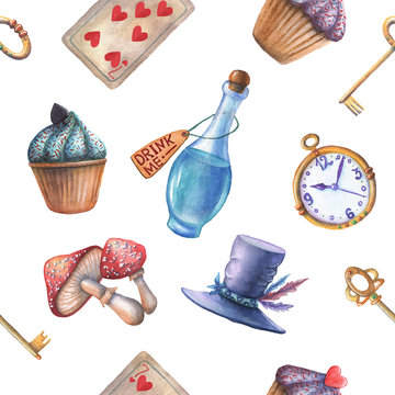 Watercolor vector wonderland seamless pattern.