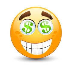 Dollar vector emoticon