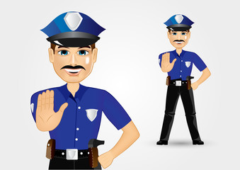 policeman with mustache showing stop gesture
