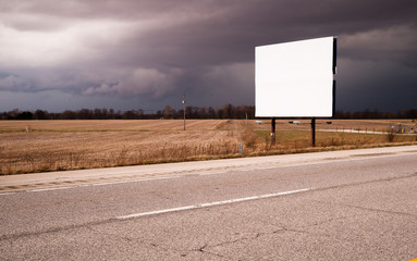 White Blank Billboard Advertising Sign Farm Field Thunder Storm