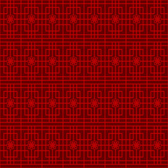 Seamless Chinese window tracery square flower pattern background.
