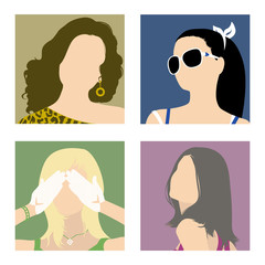 minimalistic avatars fashionable girls in bright color