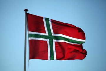 The flag of Bornholm - Danish island in the Baltic Sea