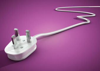 Electrical plug and cable lies unplugged isolates on pink backgr