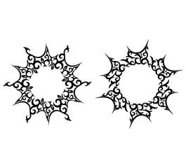 Abstract sun, flower tattoo, vector