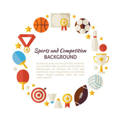 Flat Style Vector Circle Template of Sport Recreation and Compet