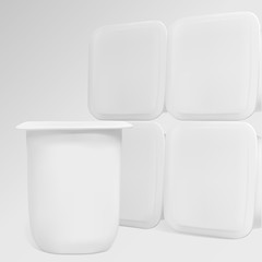 White containers for dairy products. Illustration contains gradient mesh. Any item can be easily removed.