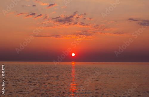 Romantica Alba Sul Mare Adriatico Nella Regione Marche Italia
