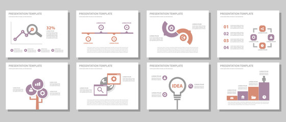 Purple and red Multipurpose presentation templates   flat design set 2