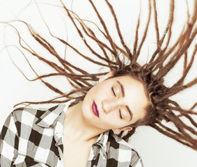 real caucasian woman with dreadlocks hairstyle funny cheerful