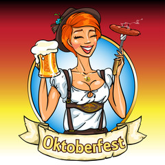 Pretty Bavarian girl with beer and smoking sausage