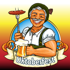 Smiling Bavarian man with beer and smoking sausage