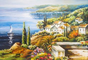Original oil painting The sailing boat