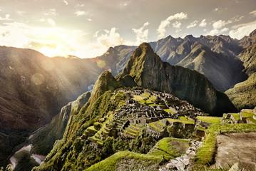 MACHU PICCHU, PERU - MAY 31, 2015: View of the ancient Inca City