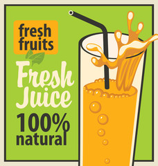 Retro banner with a glass of fresh juice and splashes