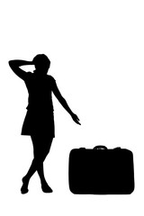 woman silhouette - pointing at a luggage