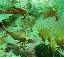 An illustration depicting life in a Devonian Period sea (419 to 358 million years ago). Shown are: Trilobites, Eurypterids, Blastoids, Crinoids, Caryocrinites and Graptolite Dictyonema.