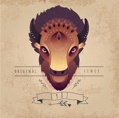 Trendy Retro Vintage Buffalo Illustration.