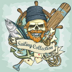 Fisherman skull logo design - Sailing Collection