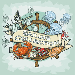 Nautical Label with sample text, Sailing Collection