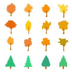 Set of stylized flat autumn tree icons, vector illustration