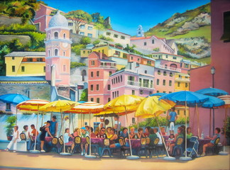 Original oil painting of Vernazza, Spain