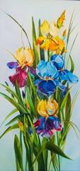 Original oil painting Irises