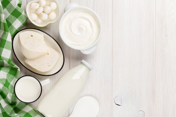 Foto op Textielframe Zuivelproducten Dairy products. Sour cream, milk, cheese, yogurt and butter