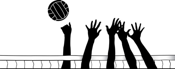Hands at Volleyball Net