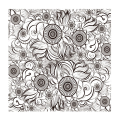 Abstract floral doodle vector background pattern. Sketch template design with exotic flowers. Vector illustration, EPS 10.