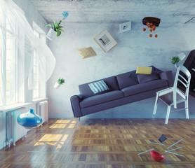 zero-gravity interior.