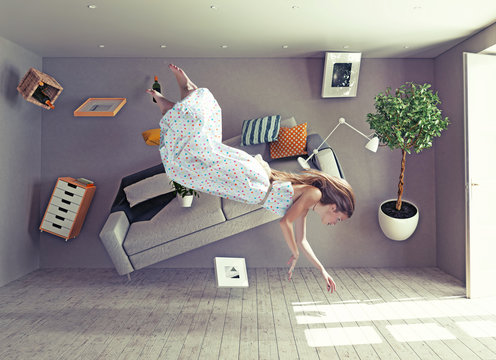 a lady fly in zero gravity room