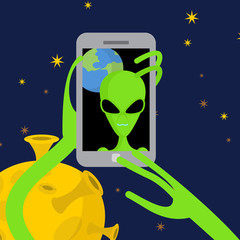Alien makes selfie in space. Space alien takes pictures of herse