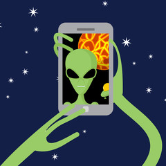 Selfie space. Alien shoots himself on phone against backdrop of