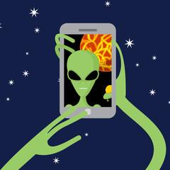 Selfie space. Alien shoots himself on phone against backdrop of