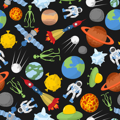 Space seamless pattern. Planets and rockets, UFO and alien, sate
