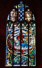 Bremen Cathedral. Window, interior of church, Germany