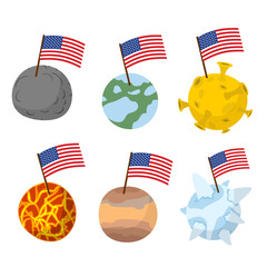 Planets of  solar system with flag of America. Discoverers of ne