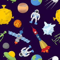 Space cartoon seamless pattern. Vector background. Astronaut and